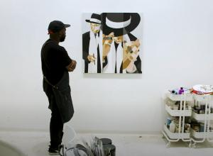 Derrick Adams looks at Jay-Z work in studio