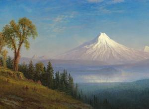 Albert Bierstadt oil landscape painting of Mount St. Helens, Columbia River, Oregon
