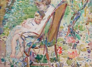 Alice Schille, Mother and Child in a Garden, France, circa 1911-12, Watercolor. Collection of Ann and Tom Hoaglin.