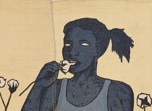 Alison Saar, detail of Cotton Eater, edition 1/6, 2014. Woodcut on found sugar sack quilt. 72 x 34 in.