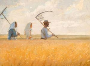 Anna Ancher painting of 3 figures walking in a wheat field holding scythes