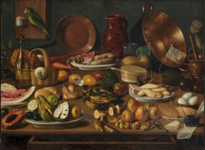 Anonymous (Mexican, 19th century), Still Life, 19th century. Oil on canvas. 29 1/2 x 39 3/4 in.