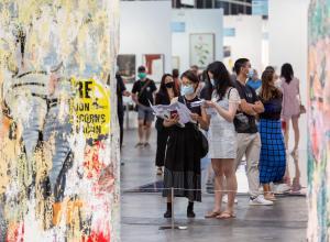 Visitors at Art Basel Hong Kong 2021