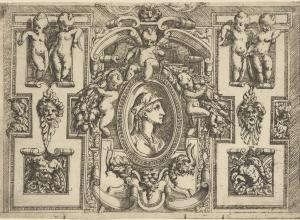 Battista Angolo del Moro, Bust of a woman in profile facing right, set within an elaborate frame with putti, ca. 1540–80.