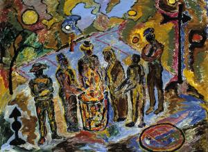 Beauford Delaney painting of men huddled around a trash can fire in bright colors