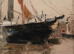 Berthe Morisot, Harbor Scene (Isle of Wight), 1880. watercolor painting of a ship