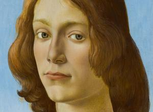 close up of the face of a Botticelli portrait of a young man with shoulder-length strawberry blonde hair