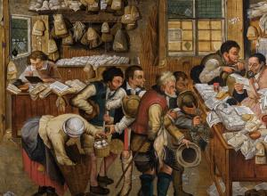 detail Pieter Brueghel the Younger's 'The Payment of Tithes'