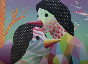 Okuda artwork, two figures, geometric, colorful