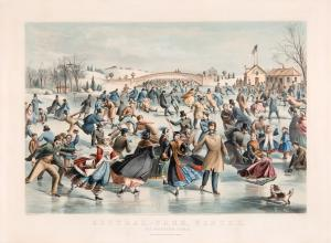 old-fashioned currier & ives lithograph of crowds at an outdoor ice skating rink