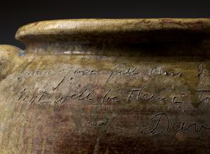 David Drake clay storage jar with inscription