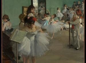 Edgar Degas, The Dance Class, 1874. Oil on canvas. 32 7/8 x 30 3/8 in. (83.5 x 77.2 cm). The Metropolitan Museum of Art.