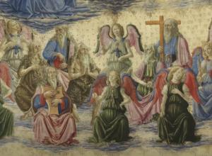 Detail of angel painting, group of angels