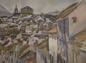 detail of bomberg city painting