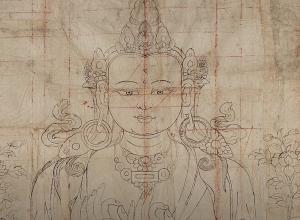 detail preparatory drawing of the Bodhisattva Maitreya