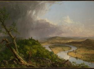 View of the painting described in this story. A knarled tree sits in the foreground of the left corner and a storm rages in the distance of this same half.