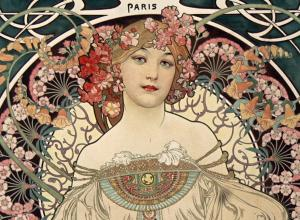 Alphonse Mucha, Poster for the publishing house of F. Champenois, 1897. Color lithograph.