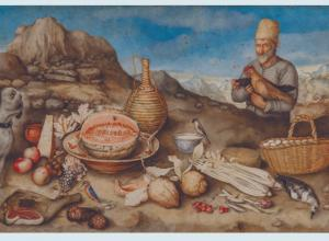 The Old Man of Artimino painting of a man with a picnic with mountains in the background