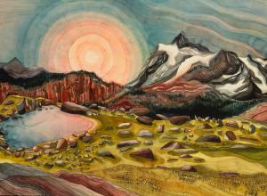 Lindsey Fox painting of a sun over mountains and a green landscape