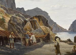 Fishing Scene next to cliff detail