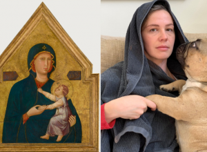 two images: a byzantine painting of the virgin mary holding the baby christ on the left, and a contemporary woman with a towel on her head holding a dog