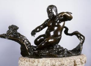 rendered with dark metal, this sculpture shows Morgante in the heroic nude, expertly riding a dragon as if directly out of a mythological tale.Giambologna, The Dwarf Morgante Riding on a Dragon, 18th Century. Courtesy Wikimedia Commons. r
