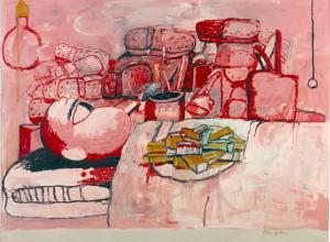 Philip Guston painting in pinks and red of a figure reclining in a bed with a plate of food on their chest