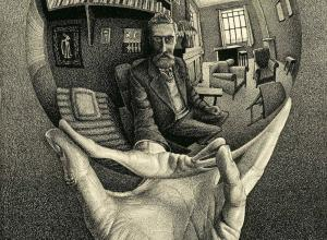 hand holds mirror ball, Escher visible in ball.