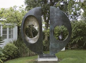 "View of ""Two Forms (Divided Circle)"" in garden at Hepworth Museum"