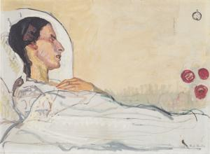 Ferdinand Hodler painitng of a woman in bed in white linens