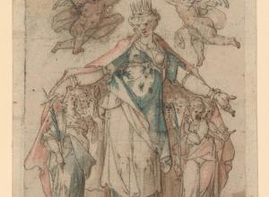 Bartholomeus Spranger, Saint Ursula, c. 1583. Pen and brown ink over traces of black chalk with pink and teal watercolor washes in a Venetian ca. 1590 aedicule frame.