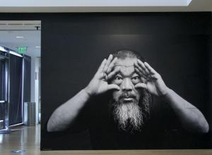 Installation View of Trace at L.A.'s Skirball Cultural Center. JORDAN RIEFE. featuring the artist's self-portrait