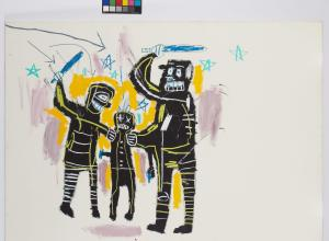 Jean-Michel Basquiat, Jailbirds, 1983. Acrylic and oil stick on canvas. 65 x 90.5 in.