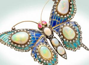 Opal and plique-a-jour brooch