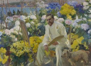Joaquín Sorolla y Bastida painting of a man in all white seated at an easel amongst a flower bed with yellow and white blossoms