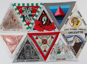 Judy Chicago triangular quilt blocks honoring female pioneers