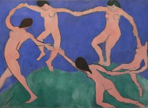 Henri Matisse painting of five nude figures holding hands in a circle dancing