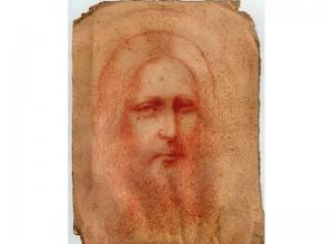 da vinci drawing in red pencil of a Jesus' face