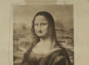 An early draft of Duchamp's mustachioed mona lisa. She is tapped on a background, etc.