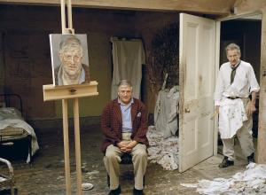Lucian Freud and David Hockney photographed by David Dawson in 2002.