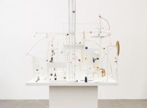Christina Kruse, Lunapark, 2021. Plaster, wood, brass, metal, glass, soapstone, alabaster, paint. 76 x 42 x 43 inches.