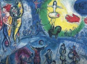 detail of marc chagall circus image, blue
