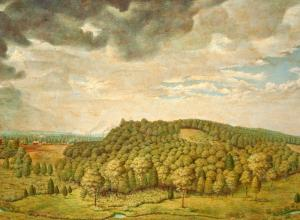 John G. Matilus landscape painting of a tree-covered grassy hill under a cloud-filled sky