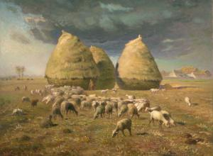 Millet painting of three haystacks with a herd of sheep set against a stormy sky