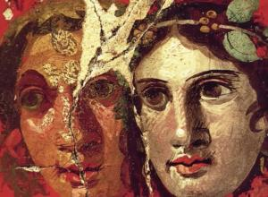 ancient fresco of two women