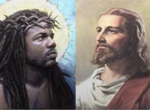 """traditional"" and ""unorthodox"" (white and black) depictions of jesus side by side"