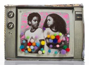 Mz Icar_Gems TV_The Untitled Space. printed image of young kids decorated with crafty sparkly puffballs