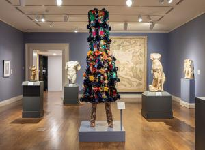 Nick Cave (b. 1959. Lives and works in Chicago), Soundsuit 8:46, 2021. Mixed media including vintage textile and sequined appliqués, metal, and mannequin.