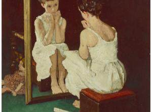 Norman Rockwell (American, 1894-1978), Girl at Mirror, The Saturday Evening Post cover study, 1954