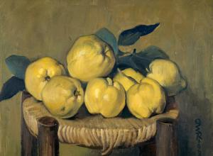 still life of Quinces on a stool top